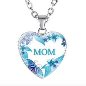 Jewelry - Blue Butterfly Floral MOM Heart Pendant Necklace